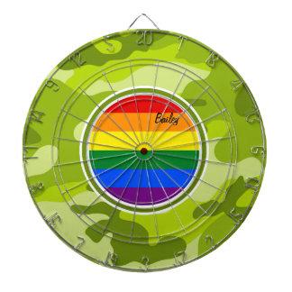 Bandera del arco iris; camo verde claro, camuflaje tablero de dardos