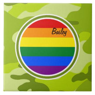 Bandera del arco iris camo verde claro camuflaje azulejo