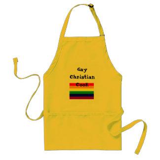 bandera del arco iris, cocinero cristiano gay delantal