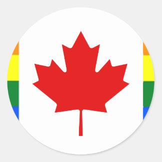 Bandera del arco iris de Canadá Pegatina Redonda