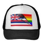 Bandera del arco iris de Hawaii Gorros Bordados