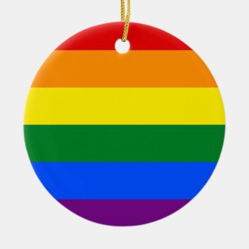 Bandera del arco iris de LGBT Adorno Navideño Redondo De Cerámica