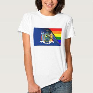 Bandera del arco iris de Nueva York Polera