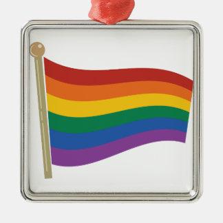 Bandera del arco iris adorno cuadrado plateado