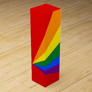 Bandera del arco iris del color de LGBT Caja De Vino