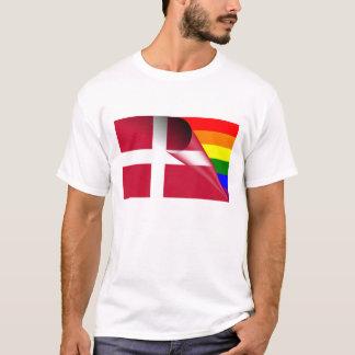 Bandera del arco iris del orgullo gay de Dinamarca Playera