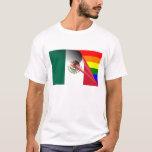 Bandera del arco iris del orgullo gay de México Playera