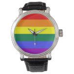 Bandera del arco iris del orgullo gay reloj de mano