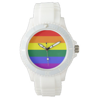 Bandera del arco iris del orgullo gay relojes