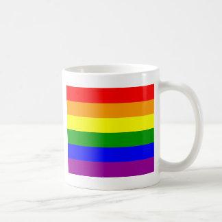 Bandera del arco iris del orgullo gay taza de café