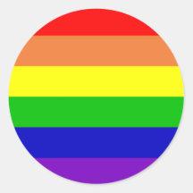 Bandera del arco iris etiqueta redonda