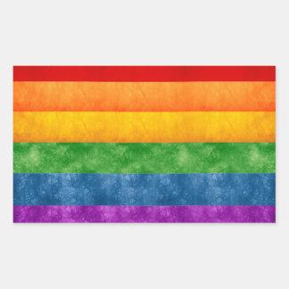 Bandera del arco iris pegatina rectangular