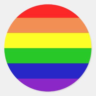 Bandera del arco iris pegatina redonda