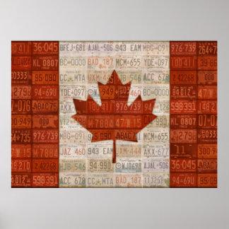 Bandera del arte de la placa de Canadá Póster