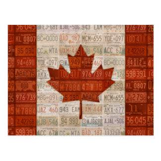 Bandera del arte de la placa de Canadá Postales