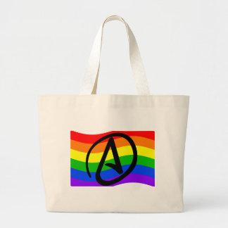 Bandera del ateo del arco iris bolsa tela grande