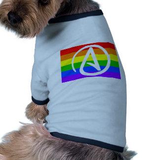 Bandera del ateo del arco iris camiseta con mangas para perro