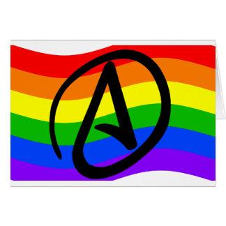Bandera del ateo del arco iris tarjeta de felicitación