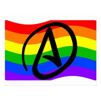 Bandera del ateo del arco iris postal