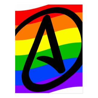 Bandera del ateo del arco iris tarjetas postales