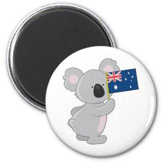 Bandera del australiano de la koala imán redondo 5 cm