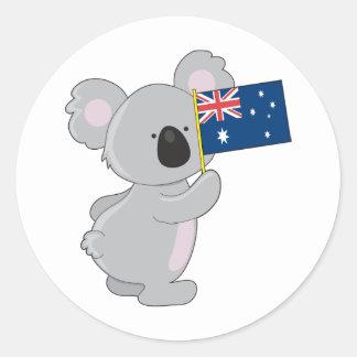Bandera del australiano de la koala pegatina redonda