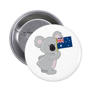 Bandera del australiano de la koala pin redondo de 2 pulgadas