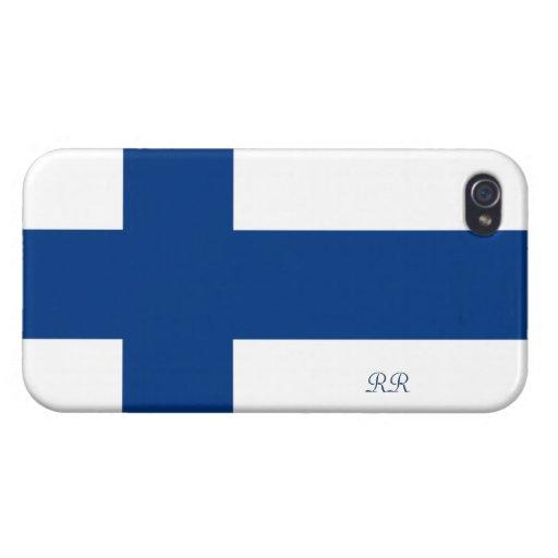 Bandera del azul de Finlandia en el iPhone blanco  iPhone 4/4S Fundas
