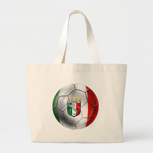 Bandera del balón de fútbol de Italia Forza Azzurr Bolsa Tela Grande