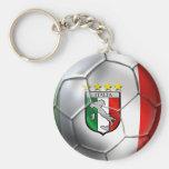 Bandera del balón de fútbol de Italia Forza Azzurr Llavero