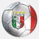 Bandera del balón de fútbol de Italia Forza Azzurr Etiqueta Redonda
