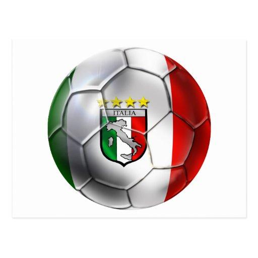 Bandera del balón de fútbol de Italia Forza Tarjetas Postales