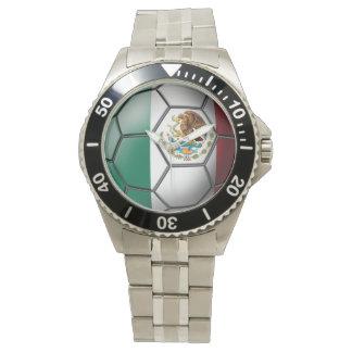 Bandera del balón de fútbol de México Reloj