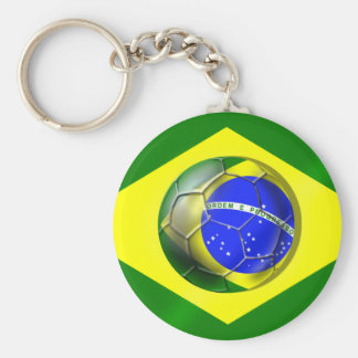Bandera del balón de fútbol del Brasil Futebol Ban Llaveros