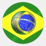 Bandera del balón de fútbol del Brasil Futebol Etiqueta Redonda