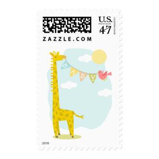 Bandera del bebé de la jirafa y del pájaro sellos