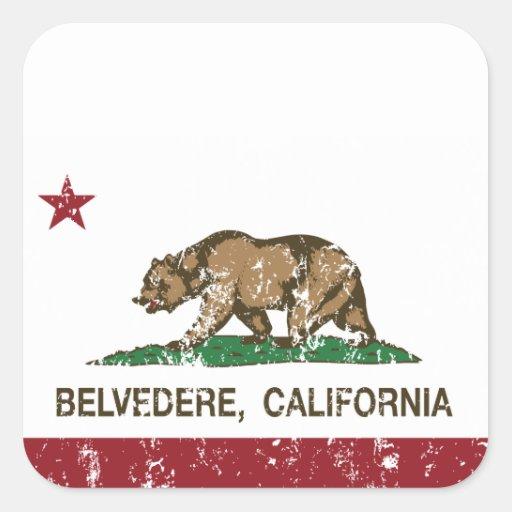 Bandera del belvedere de la república de calcomanías cuadradas