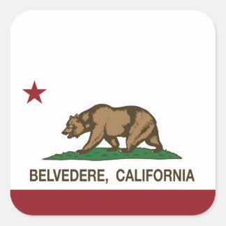 Bandera del belvedere de la república de pegatina cuadrada