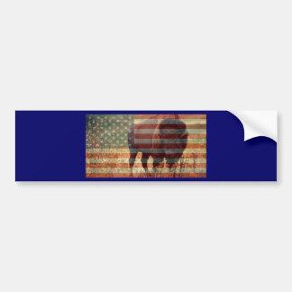 Bandera del bisonte pegatina para auto