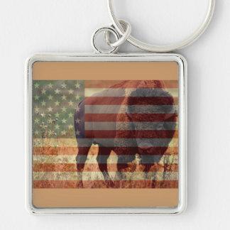 Bandera del bisonte llavero cuadrado plateado