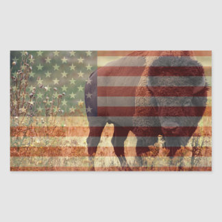 Bandera del bisonte pegatina rectangular