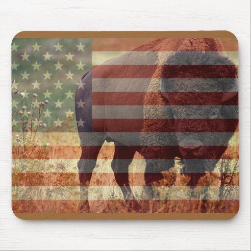 Bandera del bisonte tapete de raton