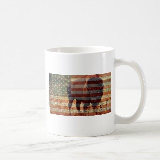 Bandera del bisonte taza