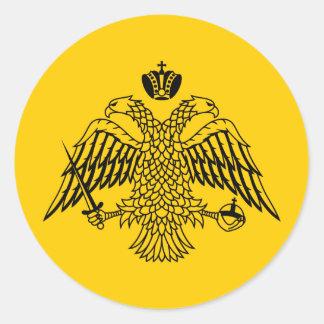 Bandera del bizantino etiqueta redonda