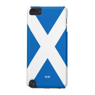 Bandera del blanco de Escocia en el tacto azul 5G