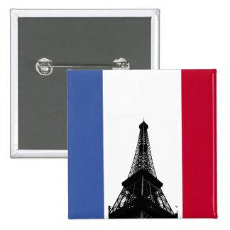 Bandera del botón de Francia Pin Cuadrado