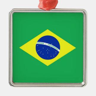 Bandera del Brasil Adorno Navideño Cuadrado De Metal