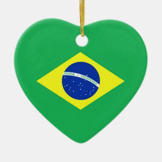 Bandera del Brasil Adorno Navideño De Cerámica En Forma De Corazón