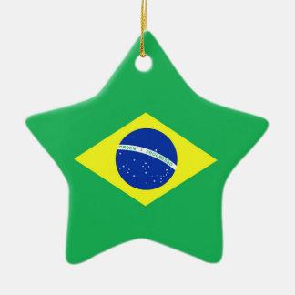 Bandera del Brasil Adorno Navideño De Cerámica En Forma De Estrella