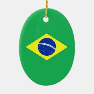 Bandera del Brasil Adorno Navideño Ovalado De Cerámica